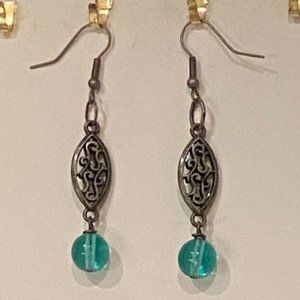 Antiqued Silver and Aquamarine Earrings